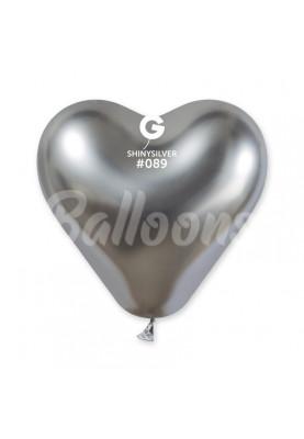 """CRB12(#089) Сердце хром серебро(12""""30см)-25шт"""
