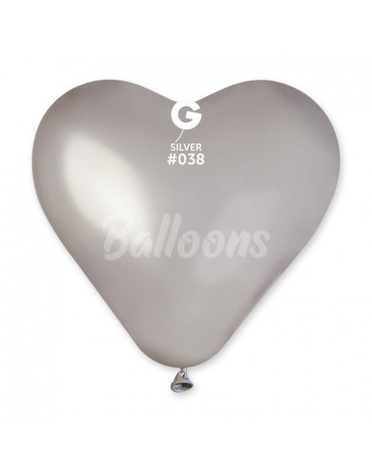 """CRM6(#038)Сердце серебро(6""""16см)"""
