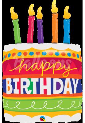 """Фольгированный шар Торт Happy Birthday QL (35""""89см) 17266"""