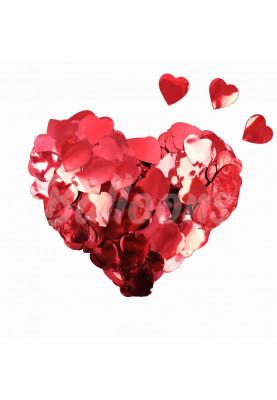 Конфетти сердечки красный металик (1уп=0.5kg)
