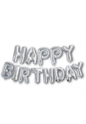 Фольгированные буквы Серебряные HAPPY BIRTHDAY (40 см)