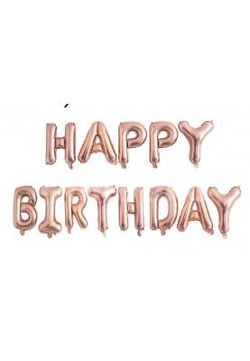 Фольгированные буквы розово-золотые HAPPY BIRTHDAY (40 см)