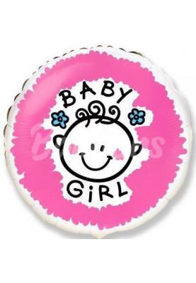 """Круг фольгированный """"BABY GIRL"""" FM(18""""46см) 401534"""