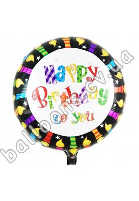 Круг фольгированный HAPPY BIRTHDAY с чёрной каёмкой КИТАЙ (44см)