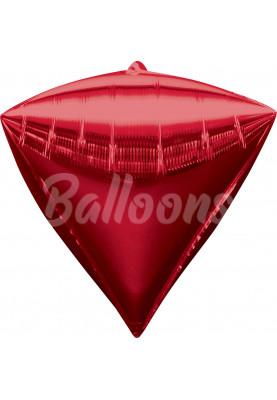 """Фольгированный шар Красный алмаз Anagram 16""""41см"""