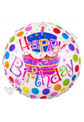 """Круг фольгированный Happy Birthday кружочки-тортик Китай (17""""44см)"""