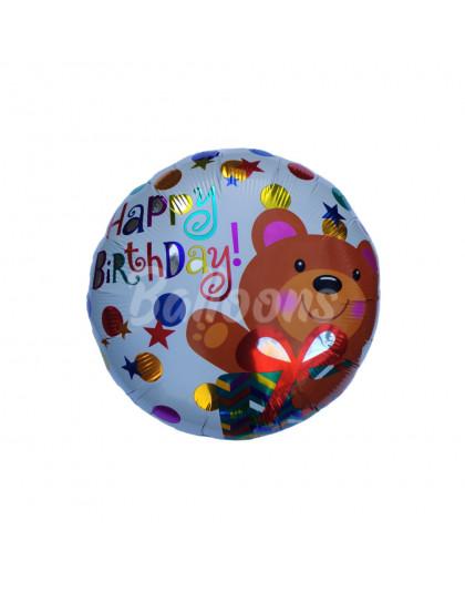"""Круг фольгированный Happy Birthday мишка Китай (17""""44см)"""