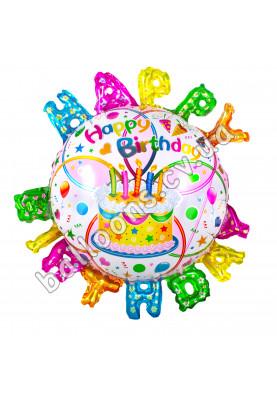 Круг фольгированный HAPPY BIRTHDAY с буквами по краям КИТАЙ (44см)