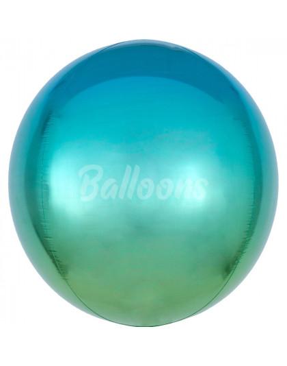 """Сфера фольгированная омбре зелёно-голубая Anagram 16""""41см"""