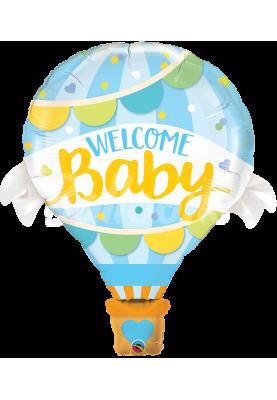 """Фольгированный шар Круг Welcome baby голубой QL (42""""107см) 78653"""
