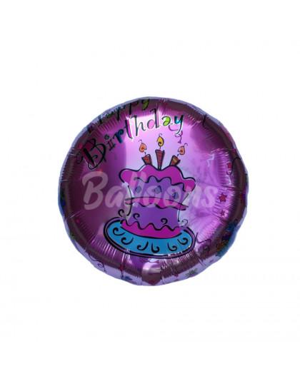 """Круг фольгированный фуксия Happy Birthday тортик Китай (17""""44см)"""