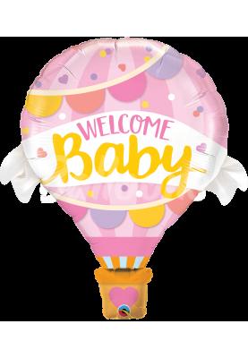 """Фольгированный шар круг Welcome baby розовыйQL (42""""107см) 78655"""