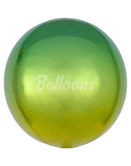 """Сфера фольгированная омбре зелённо-жёлтая Anagram 16""""41см"""