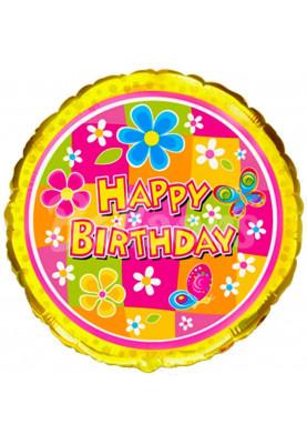 """Круг фольгированный Happy Birthday Цветочки FM (18""""46см) 401526"""