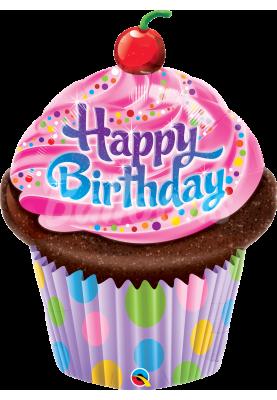 "Фольгированный шар кекс Happy Birthday QL (35"") 30679"