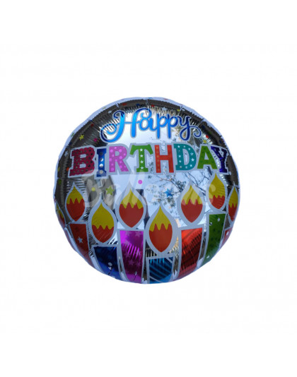 """Круг фольгированный Happy Birthday свечи Китай (17""""44см)"""