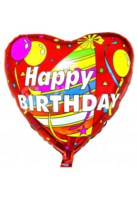 "Сердце фольгированное Happy Birthday Колпак FM (18""46см) 201526"