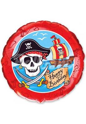 """Круг фольгированный Happy Birthday Пираты FM (18""""46см) 401541"""