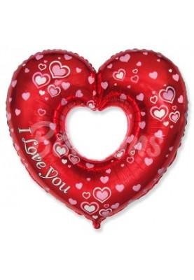 """Фольгированный шар Красное сердце полое,с бел.сердечками FM (32""""81см) 901746"""